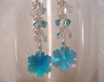 Snowflake Winter Earrings ~ Swarovski Crystal and Pearl ~ Sparkly Blue White Earrings