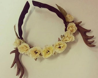 Forest Fawn Deer Antler Flower Crown Accessory Halloween