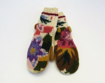 Wool Mittens Fleece Lined Abstract Multi Colored Floral Felted Wool Sweater Mittens
