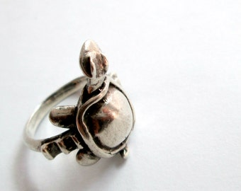 Silver Turtle Ring Size 6