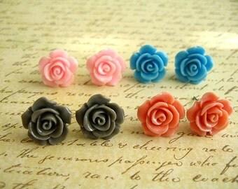 Resin Flower Earrings, Resin Earrings, Resin Cabochons, Cabochons Earrings, Flower Earrings, Rose Earrings, 15mm - Two Pairs