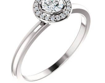 GIA Certified Diamond Halo Engagement Ring In 14k White Gold ST233854