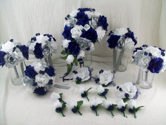 Navy and Silver Bridal Bouquets_Other dresses_dressesss