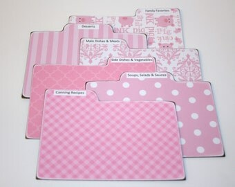Recipe Divider Tabs, Set of 6, Pink and White Recipe Divider Cards, Pig Recipe Cards, Pink Recipe Dividers, 4x6 Recipe Divider Cards