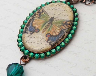 Victorian Butterfly Resin Pendant with Swarovski in Copper plated mounting JF1068