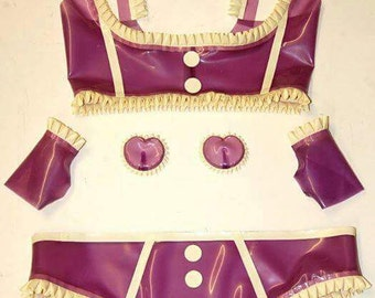 Latex Lingerie, Translucent Latex Bra and Knickers Lingerie Set