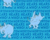 Horton Hears A Who, Blue, Dr. Seuss Robert Kaufman Fabrics