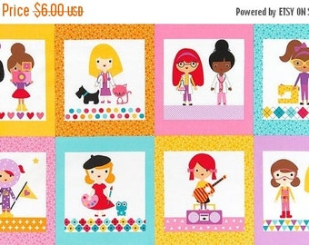 SALE Girl Friends, Fabric Panel, Robert Kakufman Fabrics