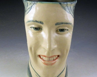 Smiling man vase-perfect teeth,OOAK vase, green and white, hand painted queen
