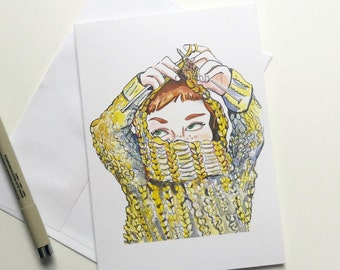 Knitting Introvert, 5x7 card, Ready to Ship