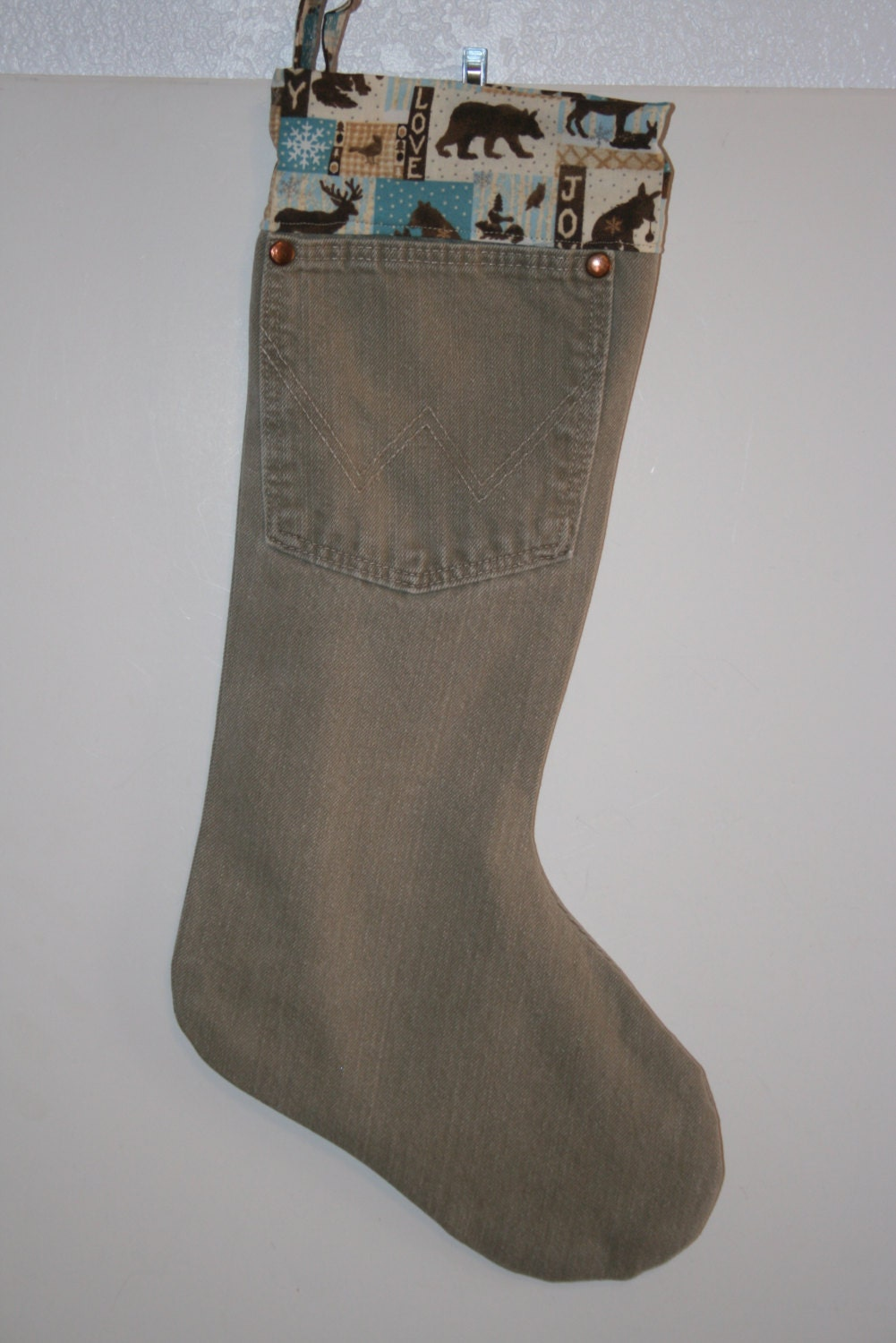 christmas stocking made fromtan wrangler jeans with country. Black Bedroom Furniture Sets. Home Design Ideas
