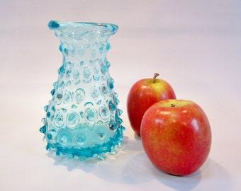 Vintage Glass Vase Hobnail ROBIN EGG BLUE