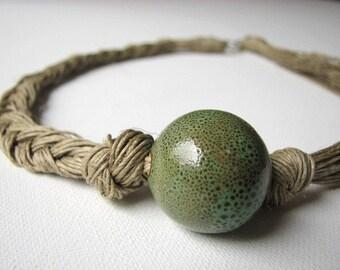 Ceramic Olive - linen necklace