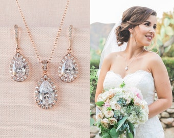 Rose Gold Bridal Set, Bridesmaids Jewelry Set, Crystal Pendant and Earrings, Wedding Jewellery, Ariel Rose Gold Bridal Jewelry SET