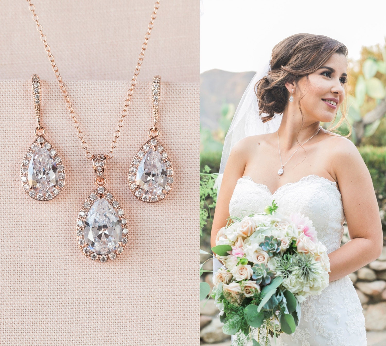 rose gold bridal set bridesmaids jewelry set crystal pendant. Black Bedroom Furniture Sets. Home Design Ideas