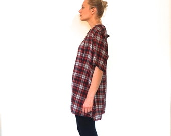 Light Fabric Oversized Plaid Shirt