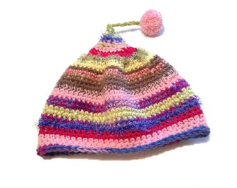 Crochet Stripe Pixie Hat - Striped Boho Beanie with Pom-Pom, Gift for Her, Teen Girl Gift