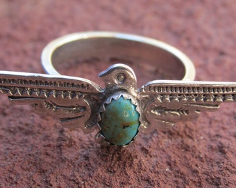 Stamped Sterling Silver Thunderbird Ring with Kingman Turquoise Cowgirl Southwestern Jewelry