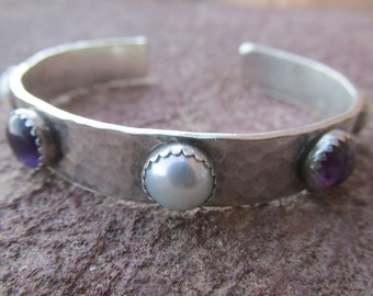 Sterling Silver Artisan Cowgirl Cuff Bracelet with White Pearl and Purple Amethyst Gemstones Southwestern Bracelet