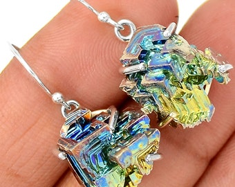 """Wild! Bismuth Earrings 1 1/4"""" In Total Length. Solid Sterling Silver"""