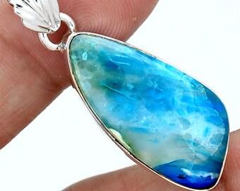 "1 3/4"" long. Transparent Peruvian Blue Opal Pendant. Authentic, untreated Andean Opal."