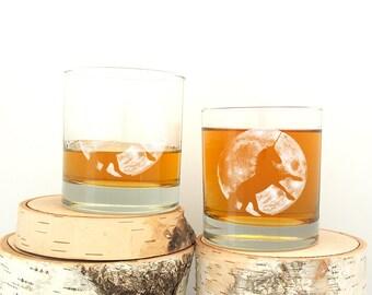 Unicorn & Moon Whiskey Glasses - Screen Printed Glassware Set