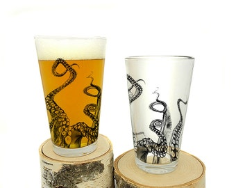 Octopus Tentacle Pint Glasses - Screen Printed Glassware - Set of two 16oz. Pint Glasses