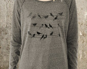 Women's Loose-Fit Pullover Sweater - Birds and Power Lines - Alternative Apparel Locker Room Sweater-  Women's Small - XL Available