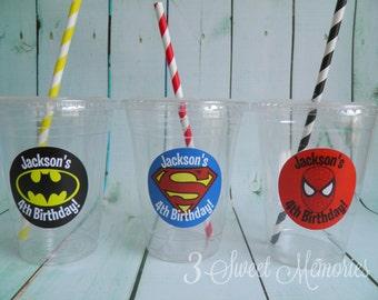 Set of 24- Superhero Party Cups, Lids & Straws
