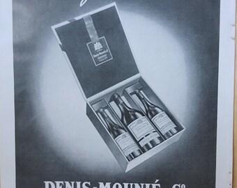 Vintage French Ad Denis-Mounié Cognac 1949