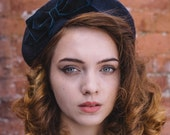 Navy Blue Hat- Navy Beret Hat with Navy Velvet Ribbon Bow