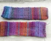 Long Multicolor Fingerless Mittens. Soft Handknitted Arm Warmers. Orange Purple Fingerless Gloves. Winter Wool Women Mittens.