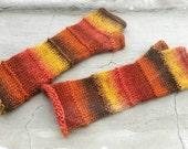 Long Multicolor Fingerless Mittens. Soft Handknitted Arm Warmers. Yellow Orange Brown Fingerless Gloves. Winter Wool Women Mittens.