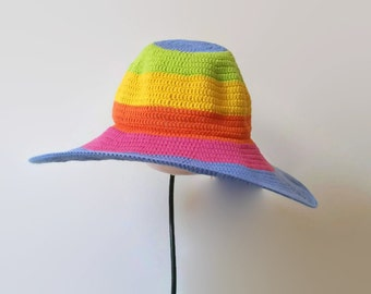Women Summer Floppy Hat. Crochet Cloche Wide Brim. Beach Multicolored Romantic Hat. Sun Protection Cotton Hat by dodofit on Etsy