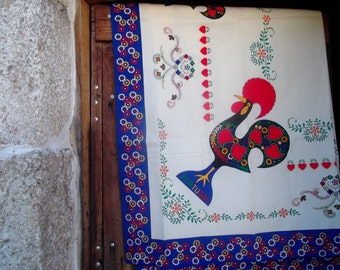 LARGE TABLECLOTH, hearts,lucky Barcelos rooster, weddings, Portugal, home decor, 250 x 150 cm
