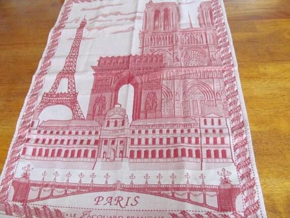 Le jacquard paris eiffel tower scene tea towel by estatefinds4u2 - Jacquard francais paris ...