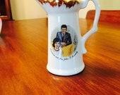 Vintage President John and Jackie Kennedy Commemorative Ceramic Vase Pitcher Presidential Memorabilia 1960s