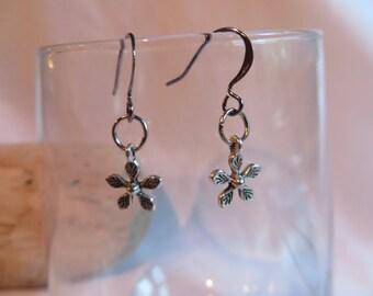 Silver Flower Charm Earrings, earrings, dangle, flower