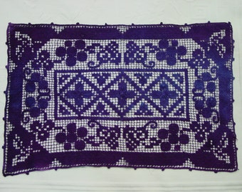 "Vintage Lace Mat, Hand Made and Hand Dyed, Deep Purple 10 x 14 1/2"" OOAK"