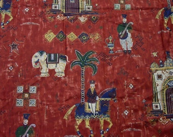 """Fabulous Fabric Decorator Remnant G P & J Baker Printed in England, """"Caliph's Palace"""""""