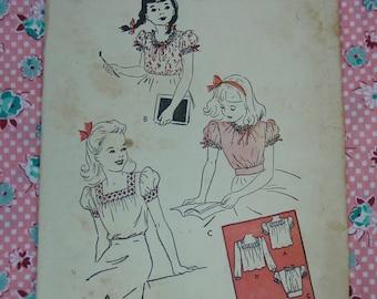 Vintage Pattern c.1940's Butterick No.3042 Girl's Blouses, Size 8, Uncut