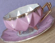 Antique 1950's Royal Sealy Japan tea cup set, lustreware tea cup, footed tea cup and saucer, pink tea cup set, pink and gold tea cup