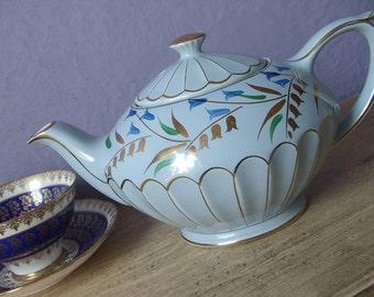 Vintage 1950's Blue Ceramic Teapot, Sadler Teapot, Hand painted teapot, Blue and gold Pottery teapot, English teacup, Antique teapot