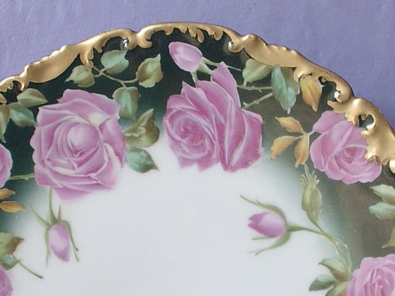 Antique TV Limoges plate, Hand Painted plate, Pink roses plate, Limoges plate, Porcelain plate, Valentine's Day gift for wife, Green gold