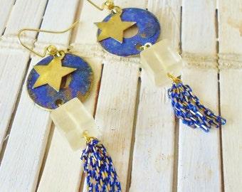 Starry Night Dangle Earrings, Navy Blue Verdigris Patina, Chain Fringe, Star Charms, Long ear rings, Glass Beaded
