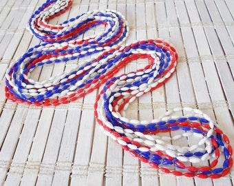 Vintage Patriotic Long Necklace Red White and Blue Multi strand 1960's MOD Plastic Beaded Rope necklace Sautoir Length