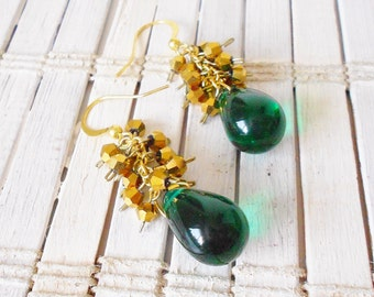Beaded Cluster Dangle Earrings Green and Gold Loki Inspired Geekery Chic
