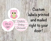"PRINTED 108 Baby Shower Candy Kiss Stickers 3/4"" Labels - Pink Owl with Chevron Pattern Personalized Party Favors  ***DISCOUNTS AVAILABLE***"