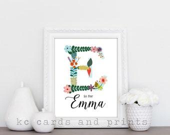 E is For Emma Wall Print Name Art Children's print Nursery Art Printable Artwork Emma Name Print
