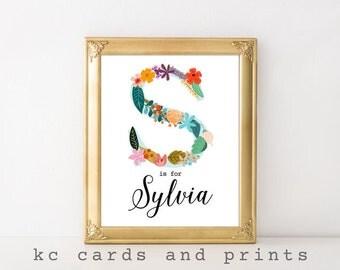 Sylvia Nursery Print - S Monogram Nursery Printable - Custom Name Art  - Printable Name Art